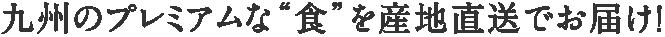 """九州のプレミアムな""""食""""を産地直送でお届け!"""